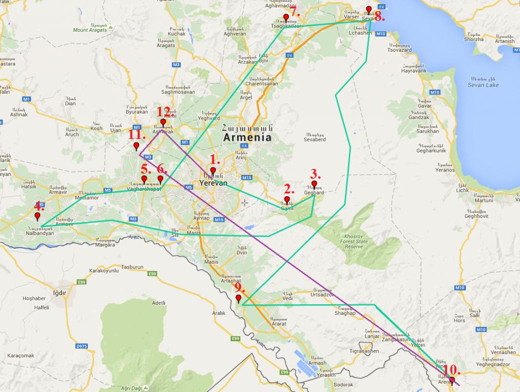 Armenia Tour Cultural Holidays Banita Tour Map