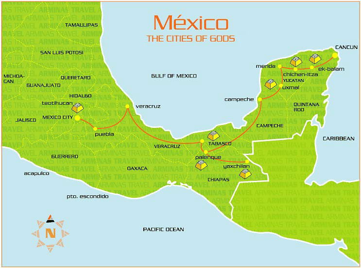 Cities of Gods Mexico Map banita Tour route