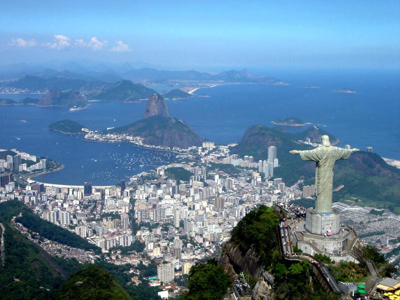 Rio de Janeiro with Christ the Redeemer Sugar Loaf Mountain Sky view Brasil Argentina Banita Tour