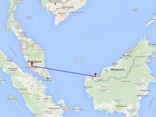 Malaysia map tour route Kuala Lumpur - Borneo - Sawarak Banita Tour