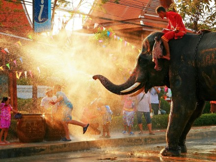 BANGKOK - APRIL 15: Songkran Festival is celebrated in a traditional New Year's Day from April 13 to 15, with the splashing water with elephants on April 15, 2011 in Bangkok.